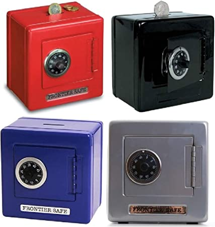 Frontier safe blue, black or red steel safe with combination lock