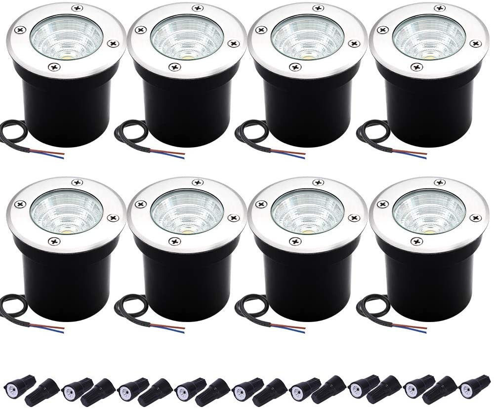Well Lights Landscape Lighting, Low Voltage Outdoor In Ground Landscape Lights, 5W 12V-24V Waterproof Warm White 3000K Deck Light for Garden, Pathway, Driveway, 8-Pack(Wire Connectors Included)