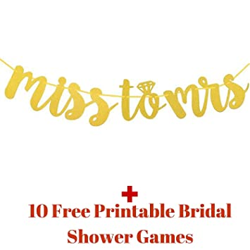 photo relating to Free Printable Bridal Shower Banner identified as : Overlook in direction of Mrs Banner with Video games : Gold Glitter