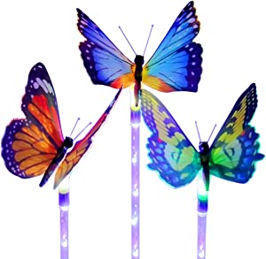Outdoor Garden Solar Lights, 3 Packs Waterproof LED Landscape Solar Powered Fiber Optic Butterfly Decorative Stake Light for Pathway Walkway Yard Patio Lawn