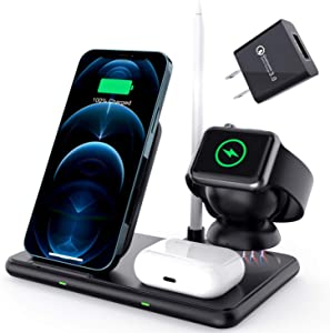 Wireless Charger Stand, 4 in 1 Wireless Charging Dock Station 15W Charging Dock for Multiple Devices, iPhone Charging Station Compatible with Apple Watch/Airpod/Pencil