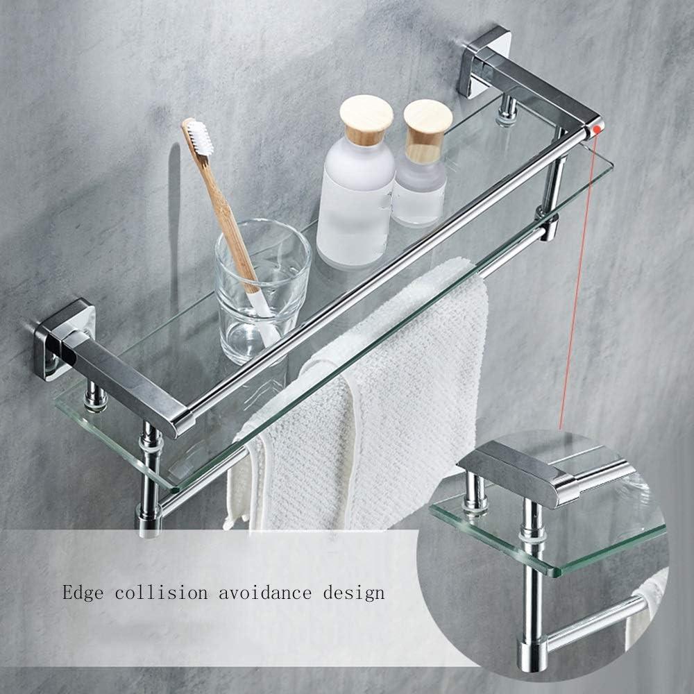 Size : 40cm//15.7inch Appeso A Parete in Rame Pieno per Il Mobile Porta-Asciugamani Ripiano in Vetro per Bagno Mensola del Bagno