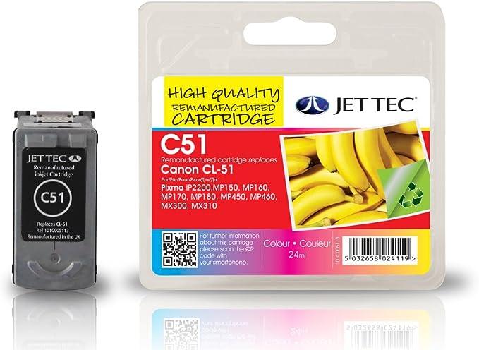 Jet Tec 0618b001 Canon Cl 51 Color In England Hergestellte Wiederaufbereitete Tintenpatrone Couleur Bürobedarf Schreibwaren