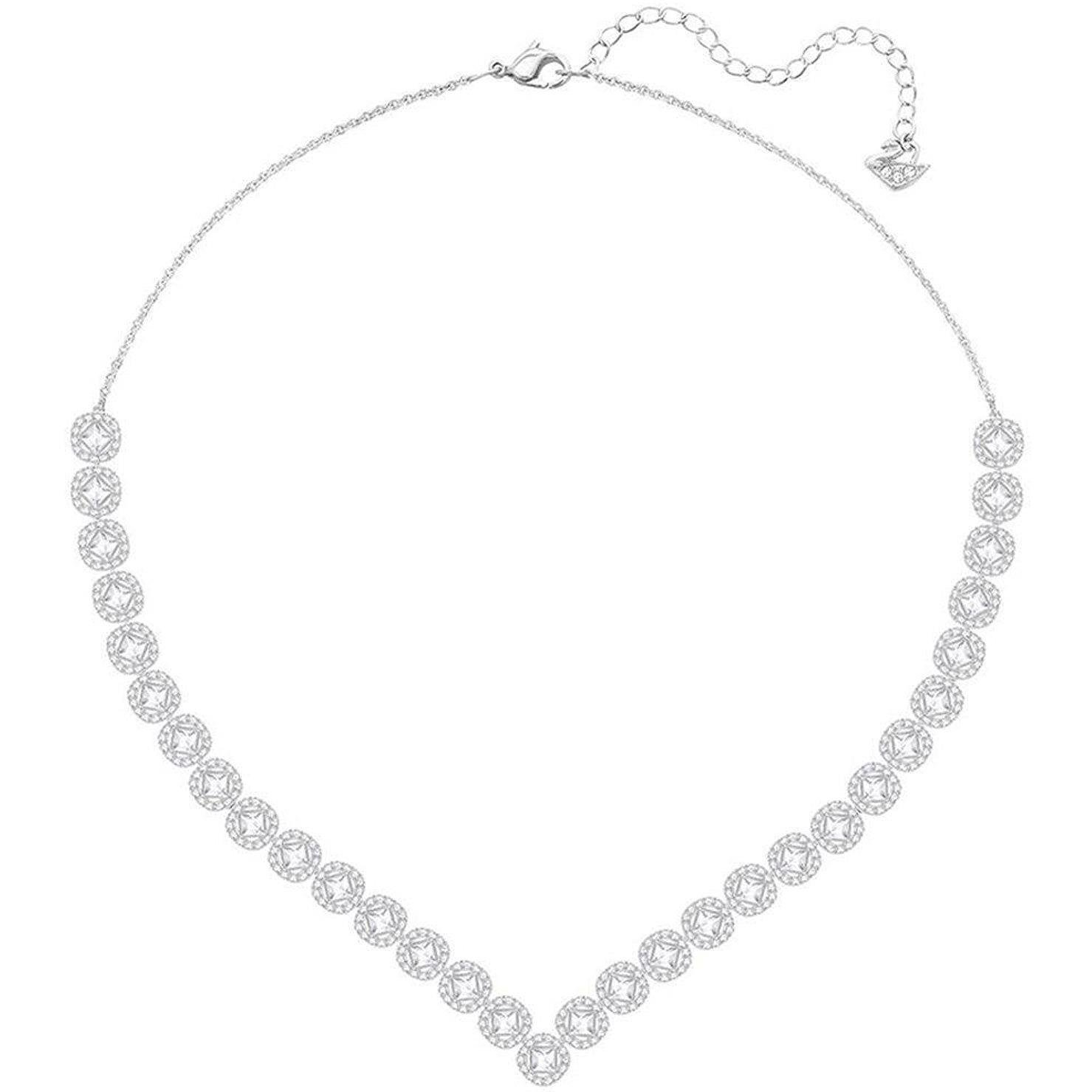 Swarovski Crystal Large White Angelic Square Rhodium-Plated Necklace by Swarovski