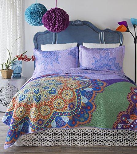 North End Décor Flower Burst Quilt set, Queen/Full 3-Piece - Flower Burst Comforter