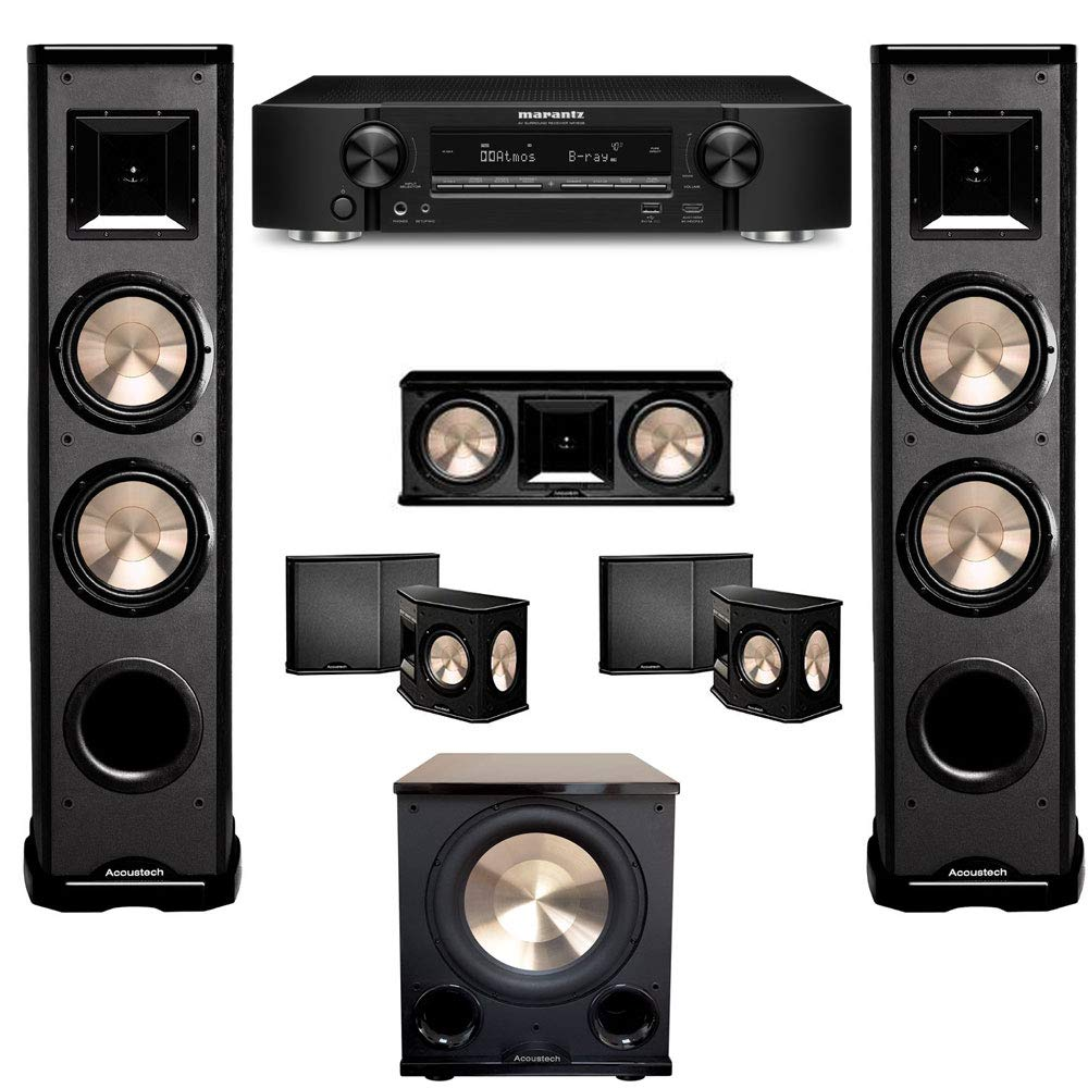 BIC Acoustech 5.1 Home Theater System with Marantz NR1608 Ultra-Slim 7.2 Channel Receiver and PL-200II Subwoofer by BIC