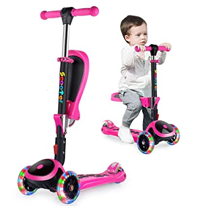 OUTON Patinete de 3 Ruedas para Niños 3-14 Años con Asiento Plegable 2 in 1 Boys and Girls Scooter Altura Ajustable Patinete con Ruedas de PU Flash ...