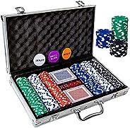 Tocebe Poker Chip Set, 300PCS Poker Chips with Aluminum Case, 11.5 Gram Poker Set for Texas Holdem Blackjack G