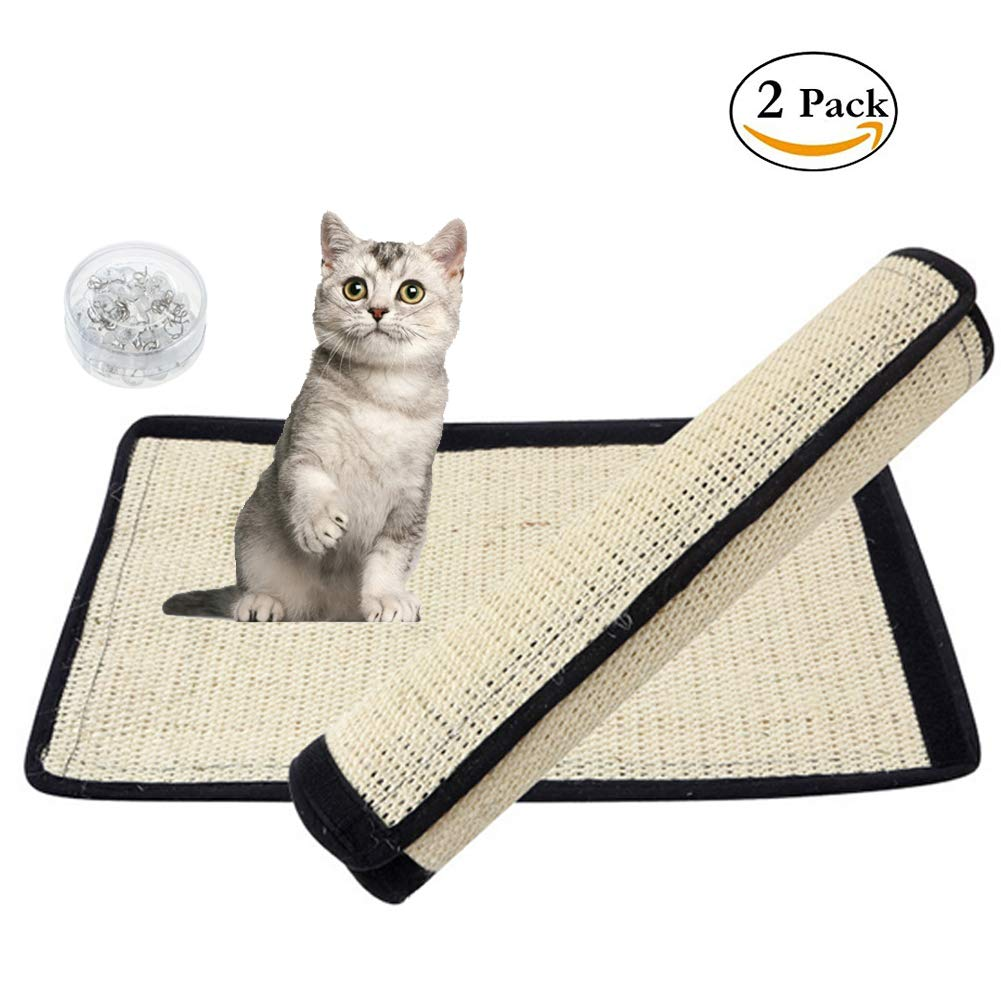 Milky House Cat Scratching Mat Cat Scratcher Replacement for Cat Tree Natural Sisal Mat with Velcro and Spiral Pins Protecting Your Furniture Sofa Couch Chair Desk Legs (2 Pack) by Milky House