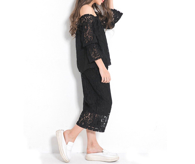 Zcaosma Teenage Girls Lace Sets Off The Shoulder Shirts Big Leg Pants Two-Piece,Black,8 by Zcaosma (Image #3)
