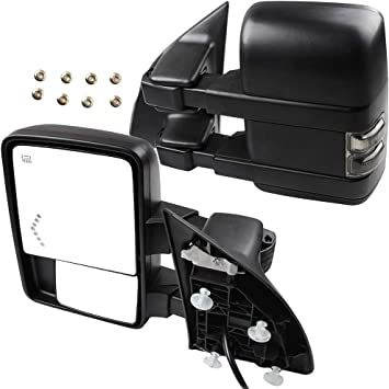 SCITOO for Ford Super Duty Series Tow Mirrors with Turn Signal Power Heated Lights Arrow Led Signal Light Rear View Mirrors for 2008-2016 F250 F350 F450 F550 Super Duty Series