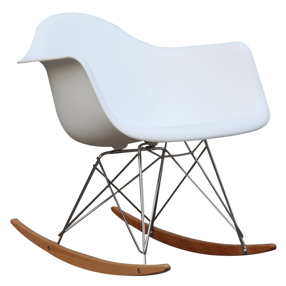Fine Mod Imports Home Indoor Patio Rocker Arm Chair, White I and L Distributing Inc. FMI2013-white