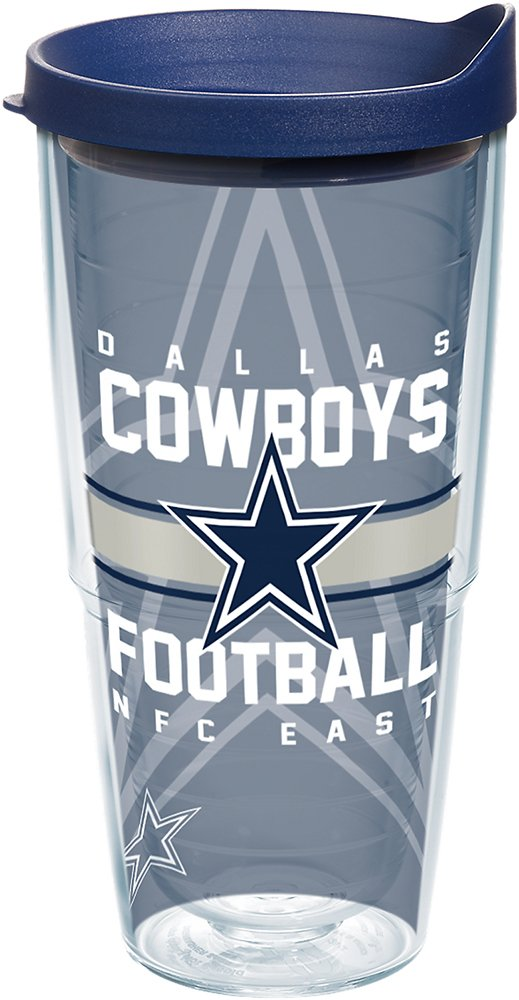 Tervis 1180434 NFL Dallas Cowboys Gridiron Tumbler with Wrap and Navy Lid 16oz Clear