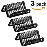 MaxGear Metal Mesh Business Card Holder for Desk Office Business Card Holders Mesh Collection Organizer for Name Card, Capacity 50 Cards, Black Mesh Business Card Display, 3 Pack