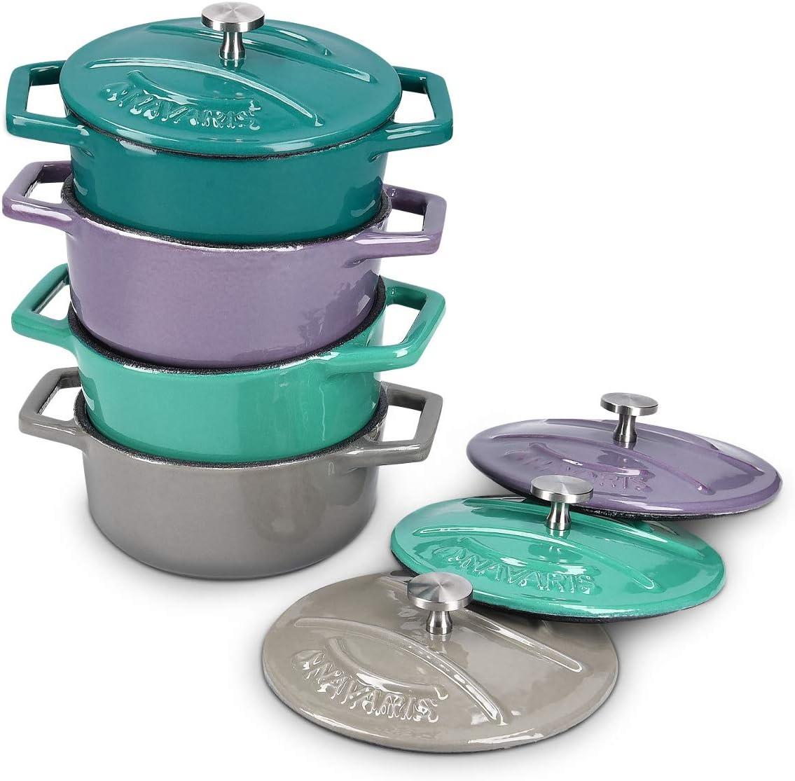 Navaris Juego de 4X Cocotte de Hierro Fundido - Mini cazuelas de 10.5CM esmaltada con Tapa - Set de cacerolas Apta para lavavajillas Horno - 250ML