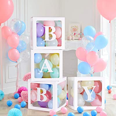 Baby Shower Decorations for Boy Latex Balloon Transparent Box Girl Baby Shower Baby Birthday Party Decoration Backdrop 4 Pcs Baby Shower Boxes and 3 Pack Baby Stickers (White): Toys & Games