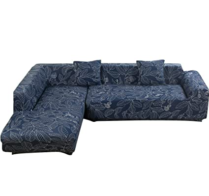 Outstanding Womaco L Shape Sofa Covers Sectional Sofa Cover 2 Pcs Stretch Sofa Slipcovers For L Shape Couch L Shape 3 3 Seats Blue Leaves Download Free Architecture Designs Rallybritishbridgeorg