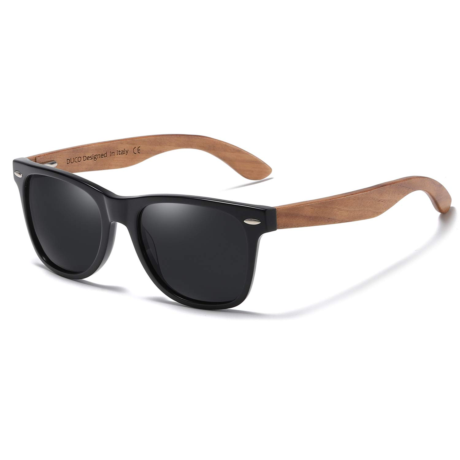 DUCO Polarized Driving Eyewear Handmade Wooden Sunglasses for Men and Women 2141 (Grey Lens Walnut Temple) by DUCO