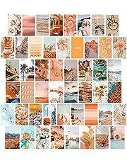 50 stks Muur Photo Collage Kit 4x6 inch Zomer Reizen Muur Esthetische Foto, Muur Art Prints voor Meisjes Kamer VSCO Posters Dorm Foto Display, Warm Room Decor
