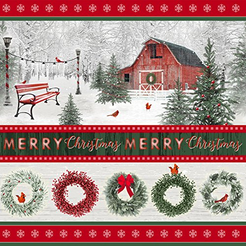 1.5 Yards Holiday Wishes Stripe Christmas by Jan Shade Beach from Henry Glass 100% Cotton Quilt Fabric 6933-86