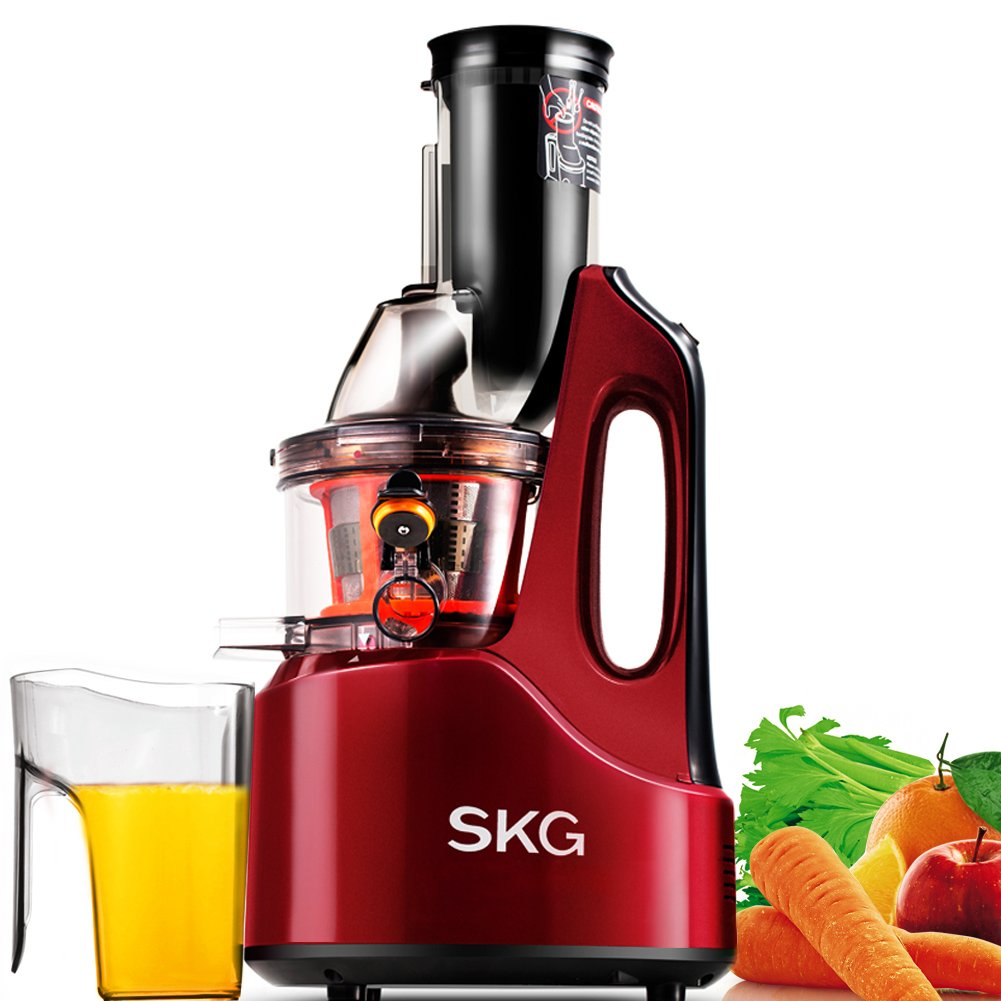 SKG Wide Chute Anti-Oxidation Slow Masticating Juicer (240W AC Motor, 60 RPMs, 3'' Large Mouth) - Vertical Masticating Cold Press Juicer