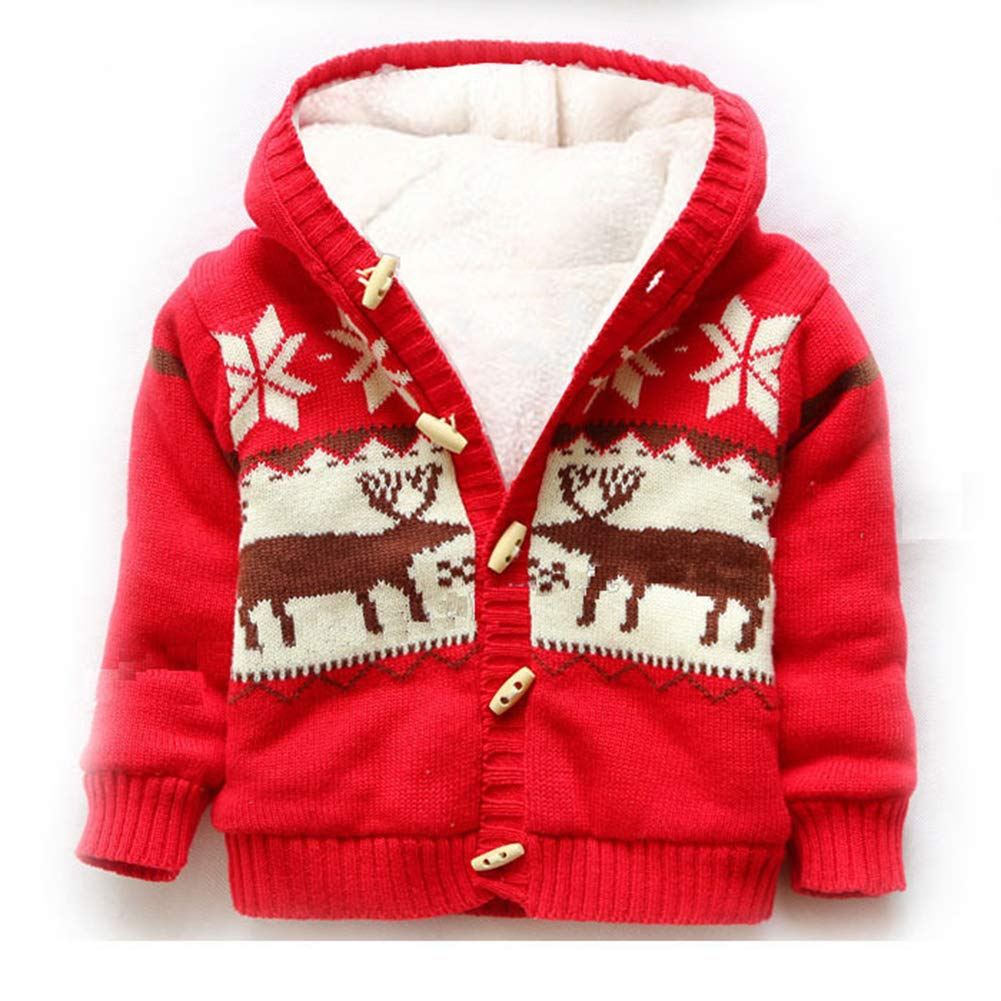 JGJSTAR Baby Deer Christmas Sweaters Cardigan 100% Cotton Toddler Boys Girls Jacket