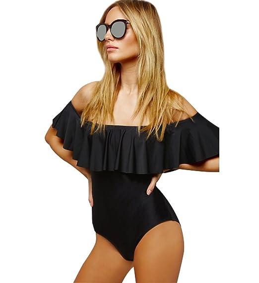 Trajes de Baño Fuera del Hombro para Mujer Bikinis Bonitos Deportivos Bañadores Mujeres Bikini Bandeau Push Up Color Puro Ropa de Baño Swimwear Bikiny ...