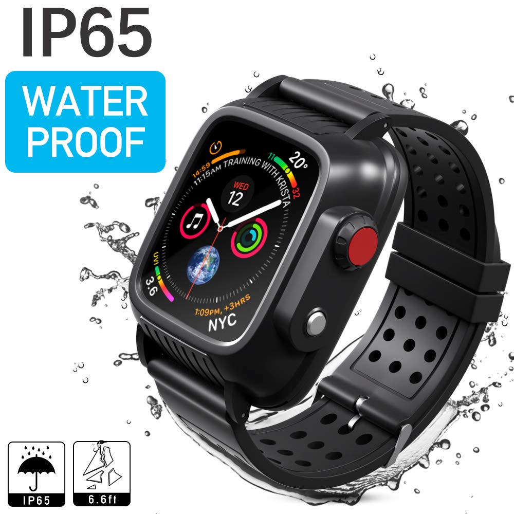 Waterproof Case Compatible with Apple Watch Series 3 42mm, MixMart Waterproof Watch Case for iWatch Series 3 42mm with Built-in Screen Protector and 3 Watch Strap Bands S/M/L, Black by MixMart