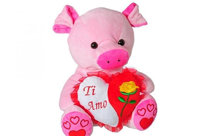Porcellino con cuore regalo SAN VALENTINO peluche pupazzo rosa
