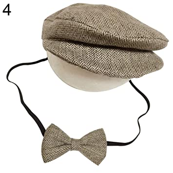 89647709 Image Unavailable. Image not available for. Color: Dzsntsmgs Newborn Baby  Infant Peaked Beanie Cap Hat Bow Tie Photography Props Outfit Set ...