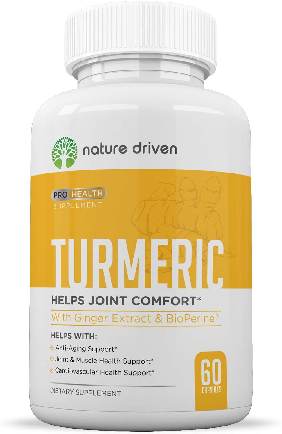 Nature Driven Turmeric Curcumin Supplement with Bioperine and Ginger - 95% Curcuminoids - Best Vegan Joint and Anti Inflammatory Relief - 1950mg per Dose - Veggie Caps 30 Day Supply
