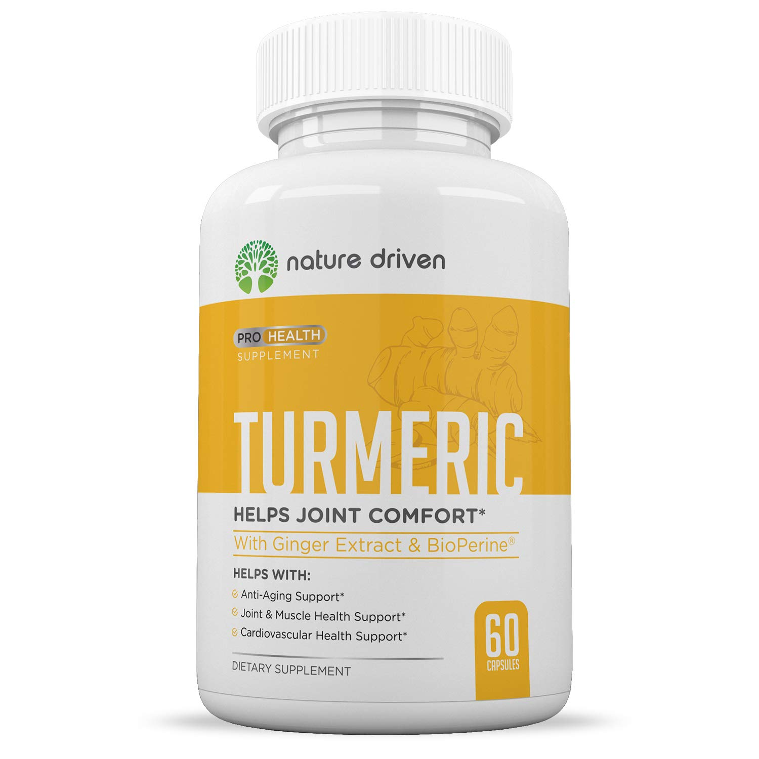 Nature Driven Turmeric Curcumin Supplement with Bioperine and Ginger - 95% Curcuminoids - Best Vegan Joint and Anti Inflammatory Relief - 1950mg per Dose - Veggie Caps 30 Day Supply by Nature Driven