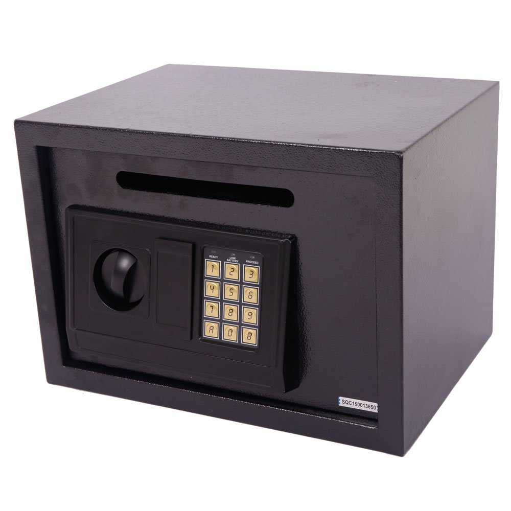 Leadzm Security Box Electronic Digital Lock Steel Safe Strongbox ,Theft Proof For Household Secret Office Travel(Black Body DS25EA)