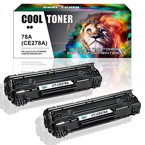 Laserjet 2100 Laser - Cool Toner 2 Packs 78A CE278A Black Toner Cartridge 2,100 Pages Yield Compatible for LaserJet Pro P1606DN P1606 P1566 P1560 LaserJet Pro MFP M1536 M1536DNF Printer