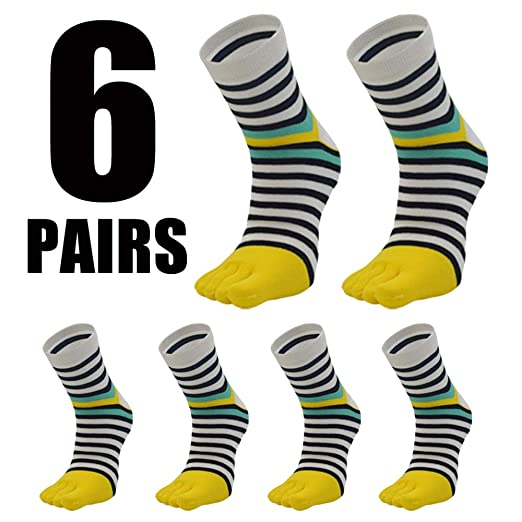 Yanqanr Five Toe Zebra Stripe Calcetines medianos Casuales ...