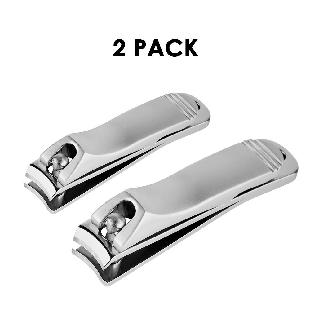 2pcs Nail Clippers Set, Stainless Steel Fingernail and Toenail Clippers Nippers for Men and Women, Silver Auxmir