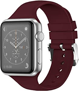 THWALK Sport Band Compatible with Apple Watch 38/40mm 42/44mm for Men/Women Waterproof Bands Replacement Strap Accessories for iWatch Apple Watch SE Series 6/5/4/3/2/1 (38/40mm, Wine Red)