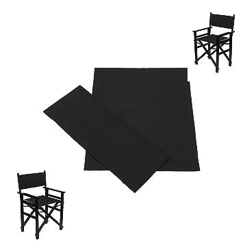 Vvciic Fundas para sillas de directores, Fundas para sillas de Lona duraderas Reemplazo Funda para sillas de Lona Lavable de Larga duración (Negra)
