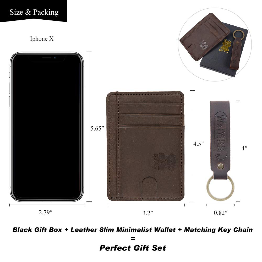 Mens Money Clip Wallet Leather Slim Front Pocket Magnetic RFID Money Clip Wallet (brow without manget)