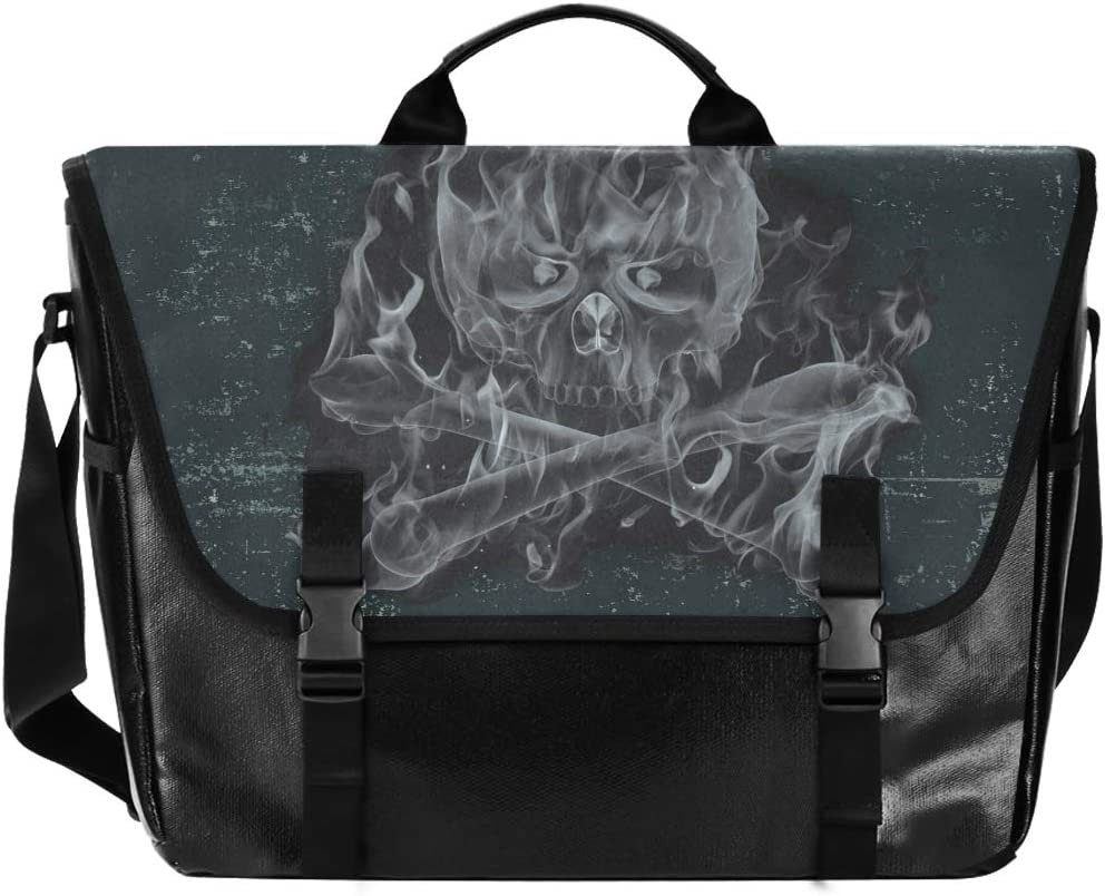 Casual Canvas Satchel Happy Traveling Camping Laptop Computer Shoulder Bag for Men Women Student Black Cool Skull Cool Messenger Bag