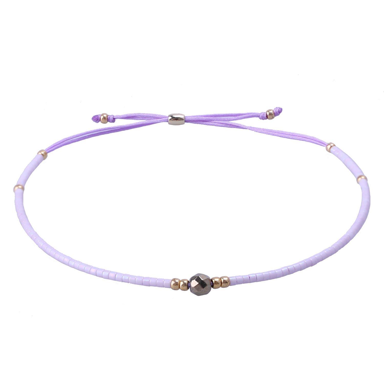 KELITCH Seed Bead Friendship Bracelet Adjustable String Bracelets for Women, A