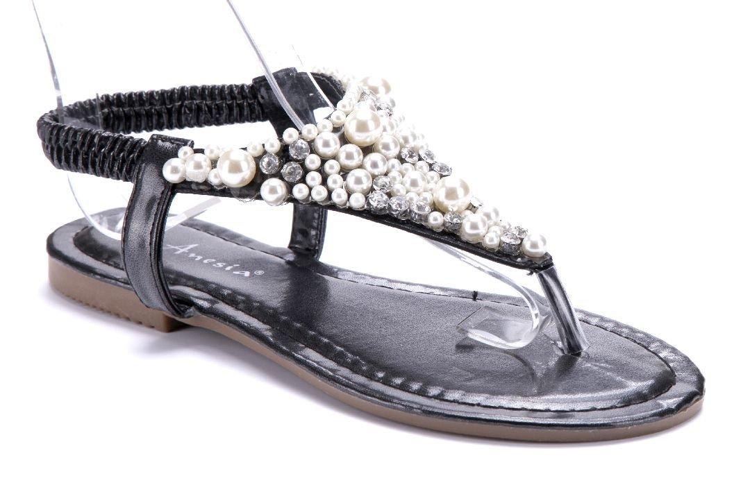 Schuhtempel24 Damen Schuhe Zehentrenner Sandalen Sandaletten Flach Ziersteine  36 EU|Schwarz