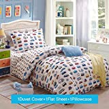 Lt Twin Size 3-pieces 100% cotton character colorful small blue red black cars bus white Prints Duvet Cover Sets (Twin, 3pcs without comforter)