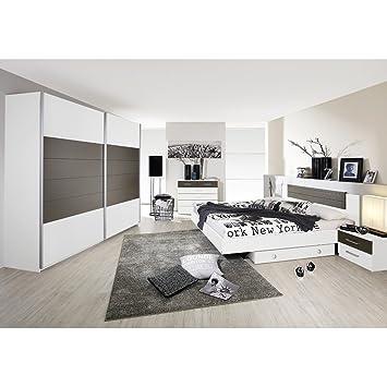 Rauch Chambre à coucher Barcelona 6 pièces Blanc avec absetzung Gris ...