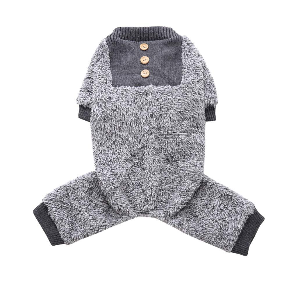 strimusimak Hund Welpen Thermische Fuzzy Kleidung Tasten Herbst Winter Pyjama Mantel Overall Pet Geschenk