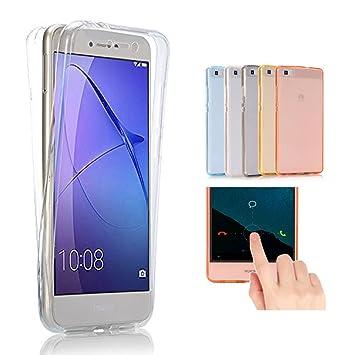 Huawei P10 Lite Funda, 2ndSpring 360 Grados Doble Delantera + Trasera De Gel Integral Silicona TPU Carcasa Case Cover para Huawei P10 Lite,Claro