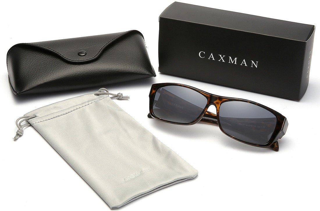 CAXMAN Polarized Fit Over Glasses Sunglasses for Prescription Glasses, Small Size, Tortoise Shell Frame with Grey Lens, 100% UV Protection by CAXMAN (Image #7)