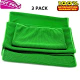 Prettygoal Cooling Towel, 3 Pack Super Absorbent Sports Towel For Workout, Fitness, Gym, Yoga, Travel, Camping And More (12'' × 39''+12'' × 27''+7'' × 35'', Green)