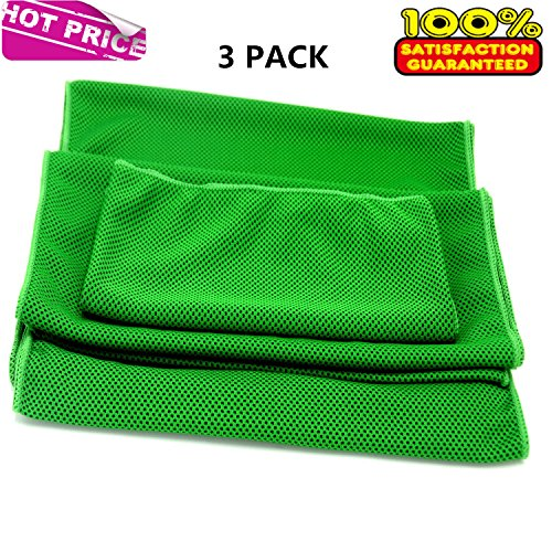 Prettygoal Cooling Towel, 3 Pack Super Absorbent Sports Towel for Workout, Fitness, Gym, Yoga, Travel, Camping and More (12'' × 39''+12'' × 27''+7'' × 35'', Green) by Prettygoal