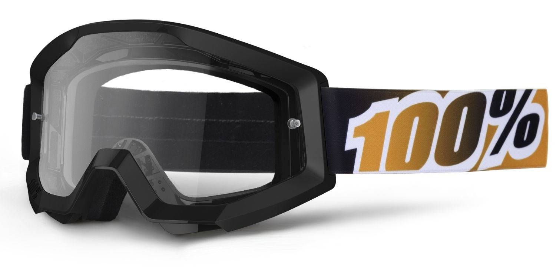 100% Goggle Strata Black Mandarina/klare Scheibe